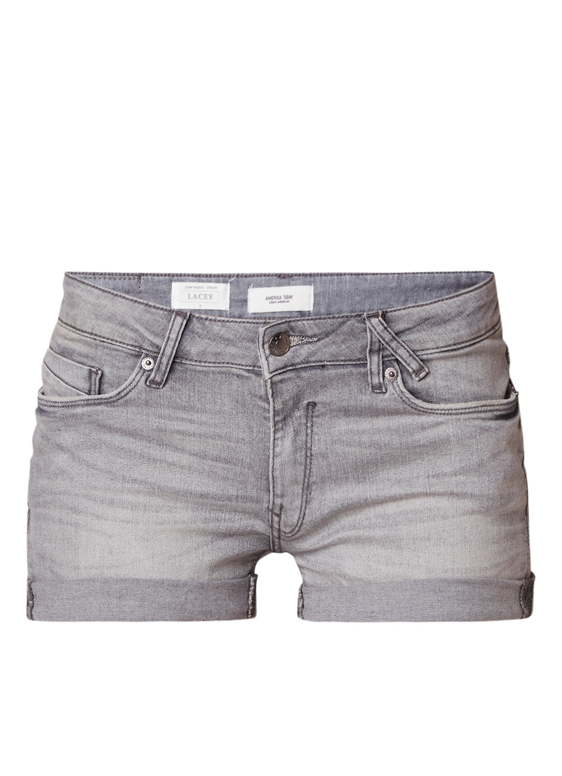 America Today America Today Lacey low waist denim shorts met omslag