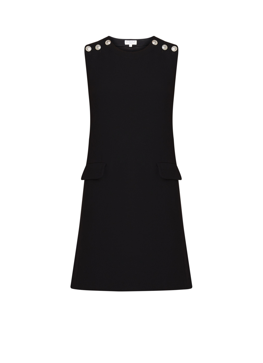 Claudie Pierlot Renzoh little black dress met knoopdetail zwart