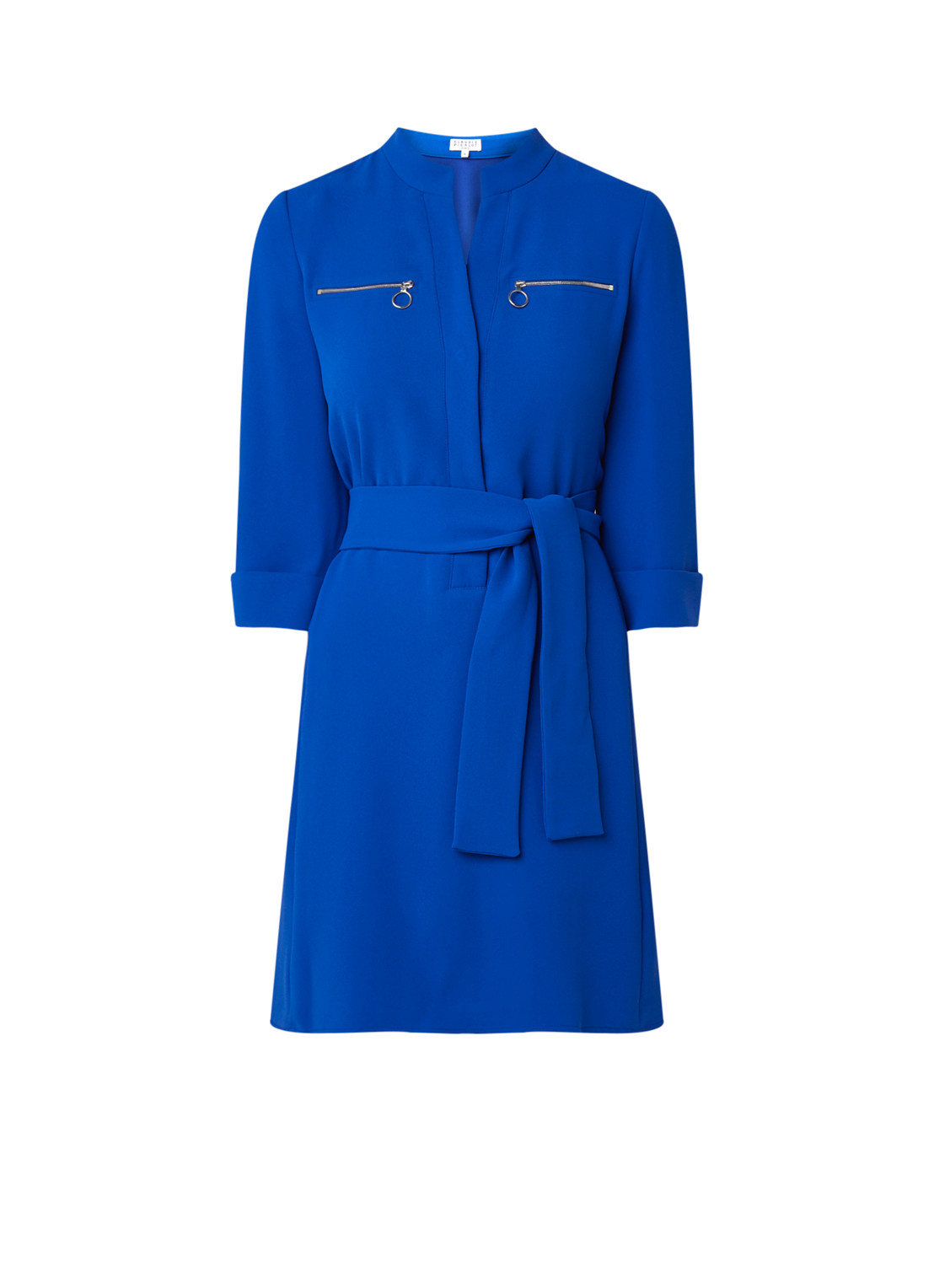 Claudie Pierlot Red tuniekjurk met ritsdetail en strikceintuur royalblauw