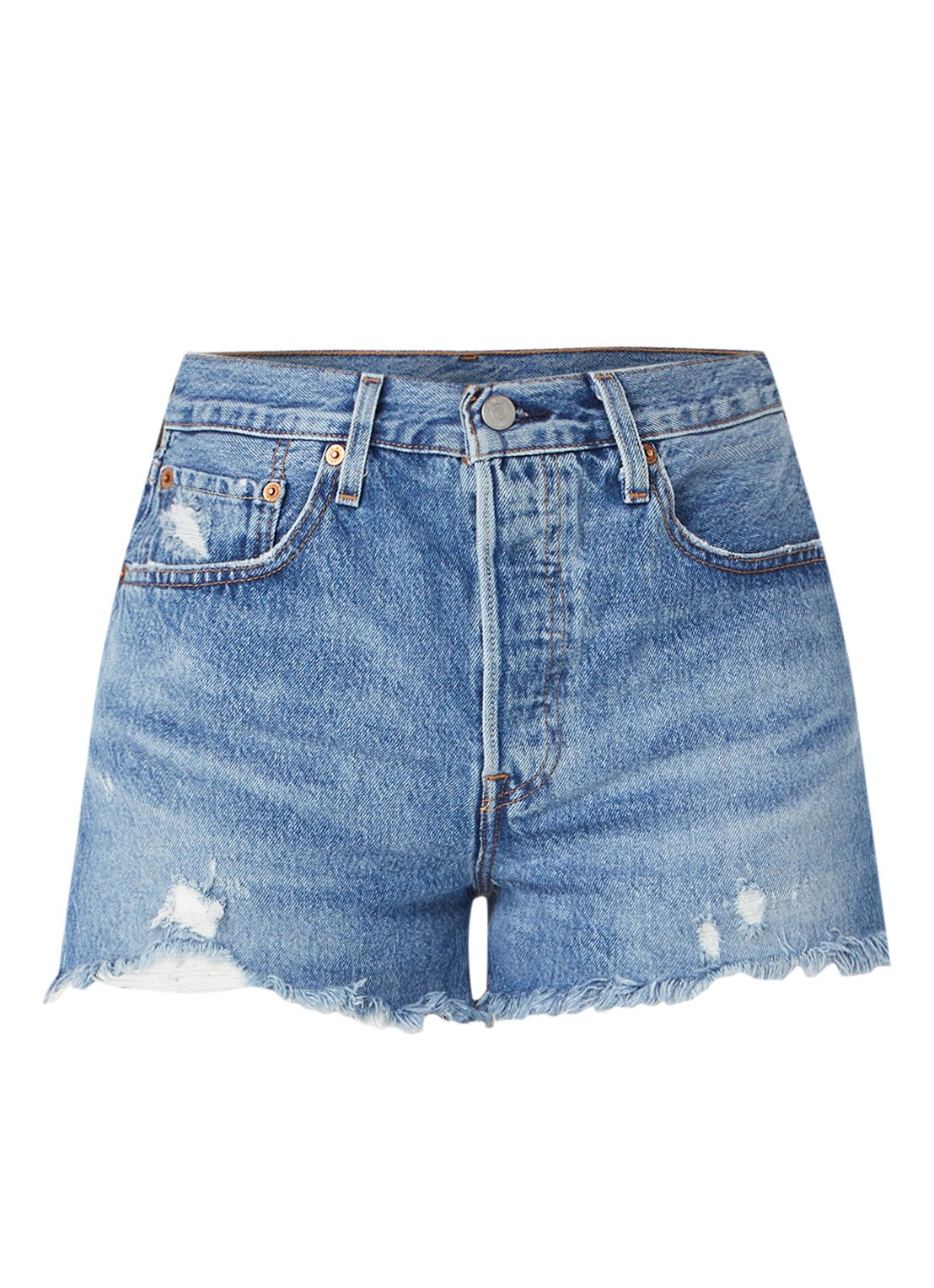 501 High waist jeans shorts met gerafelde zoom