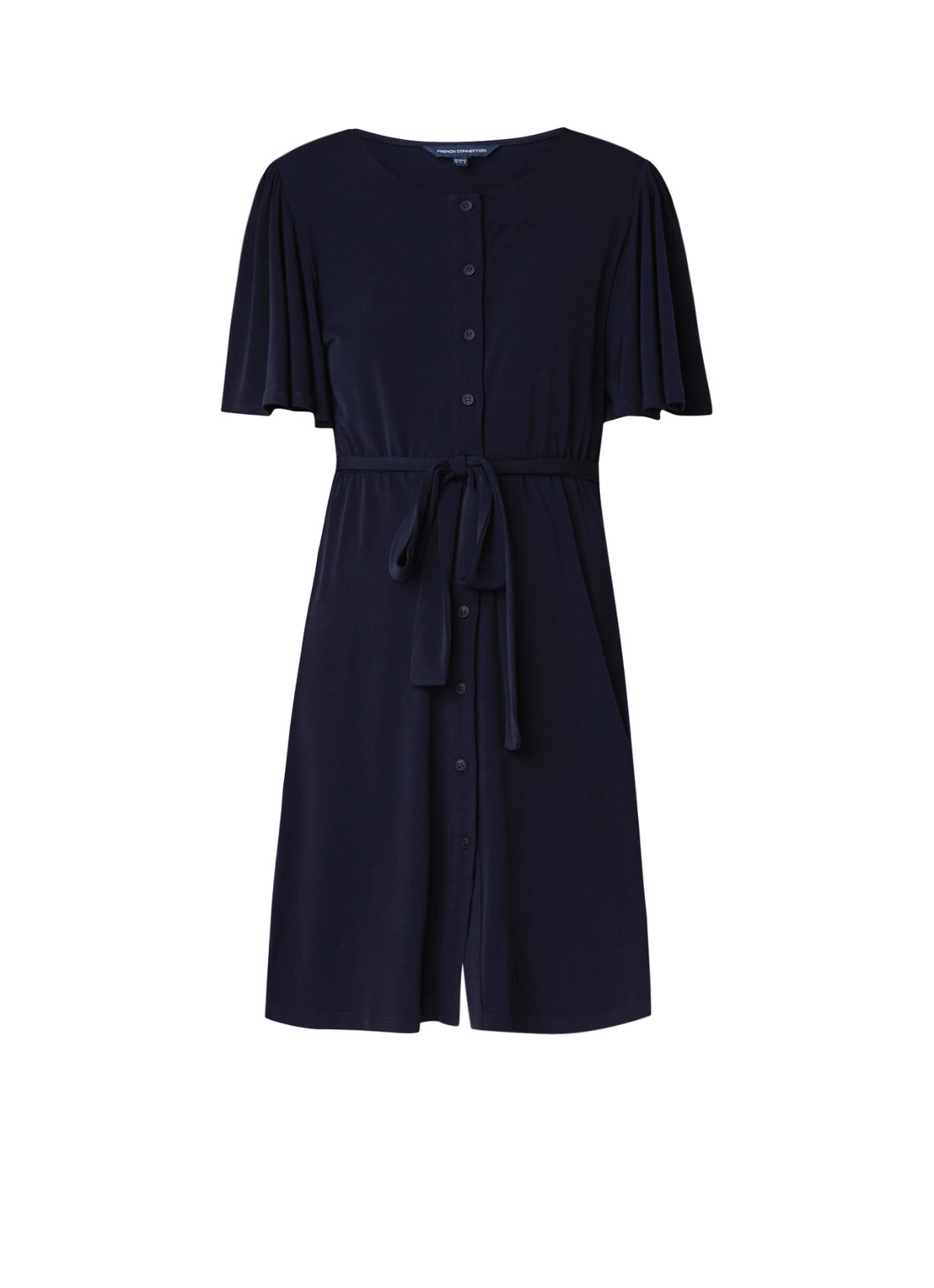 French Connection Serafina blousejurk van jersey met strikceintuur donkerblauw