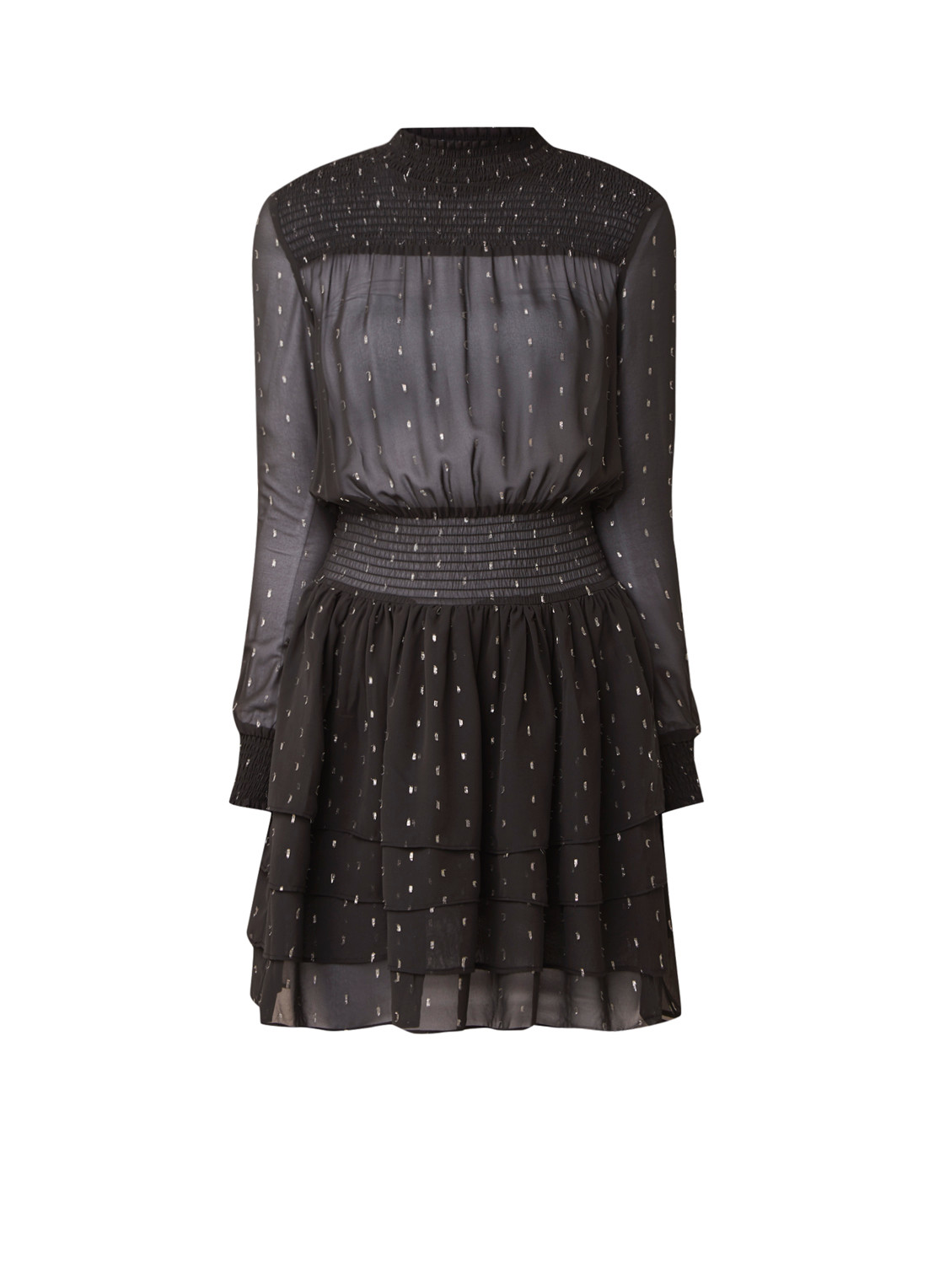 NIKKIE Rudy little black dress met metallic dessin zwart
