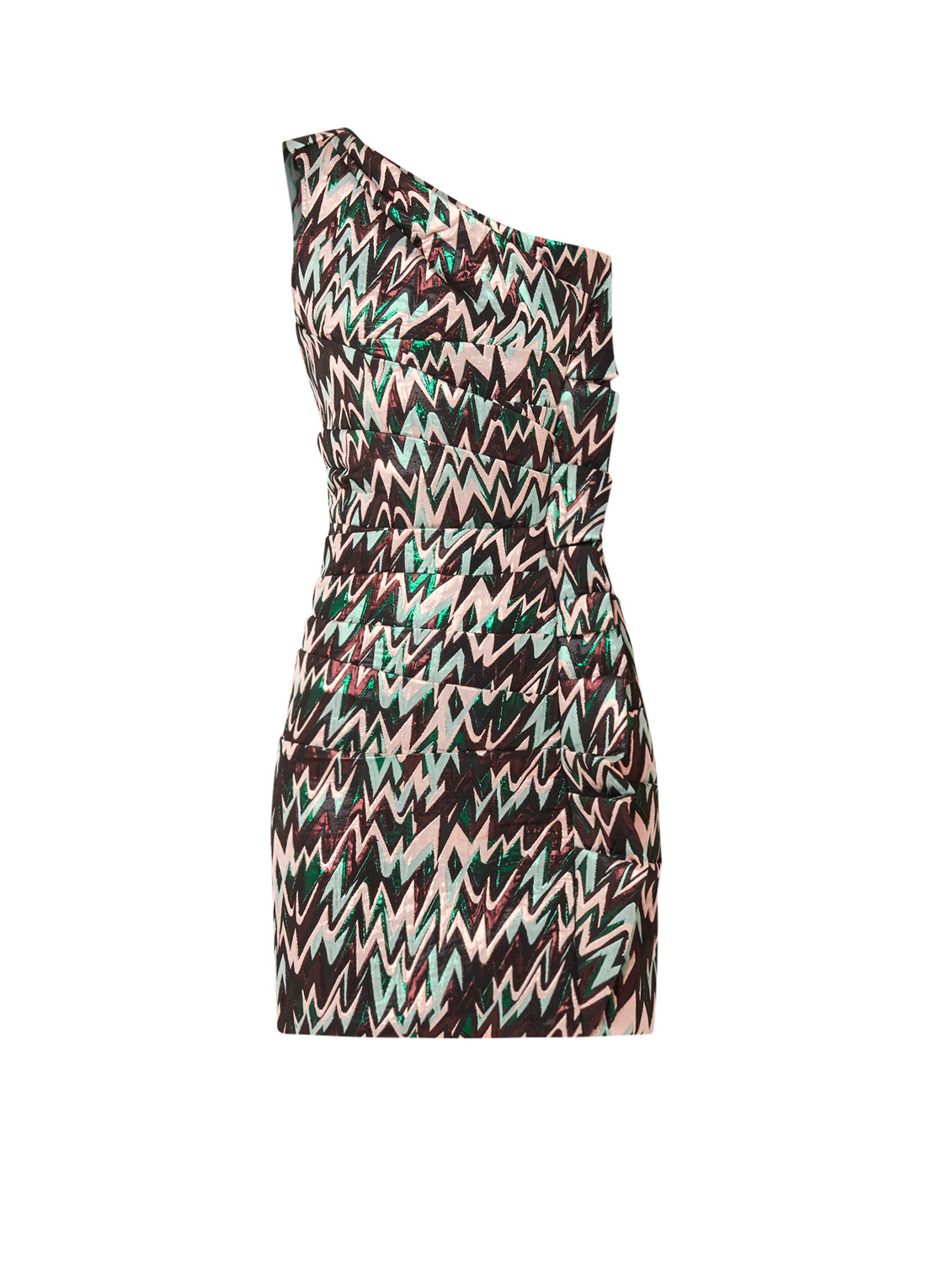 NIKKIE Nena one shoulder mini-jurk met lurex groen