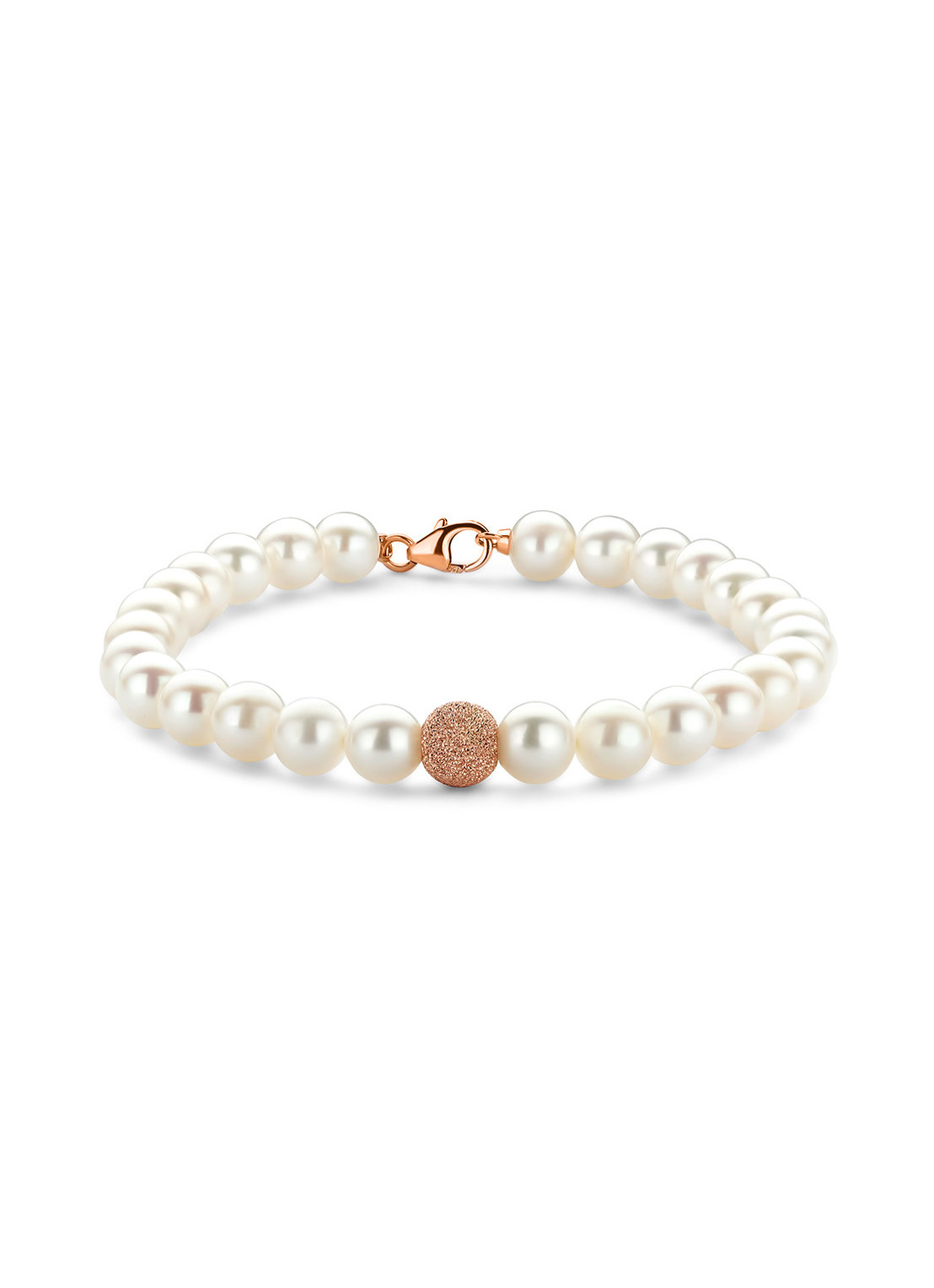 Diamond Point Rosegouden armband witte zoetwaterparel Riviera