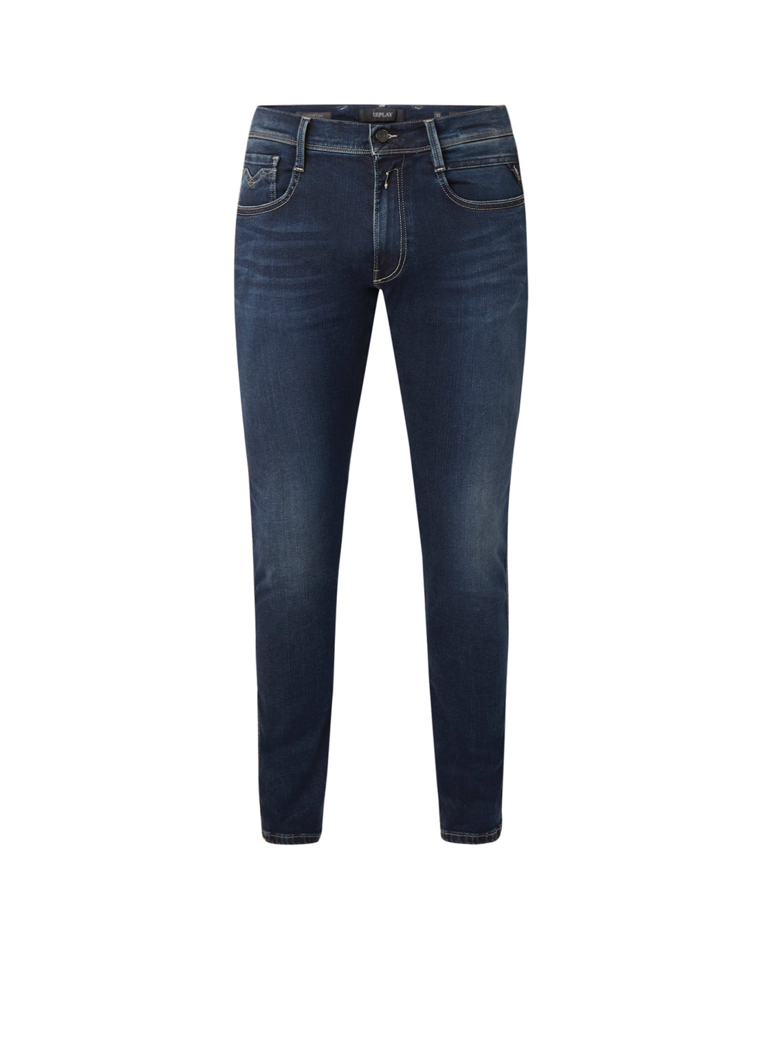 Replay Anbass hyperflex slim fit jeans in donkere wassing
