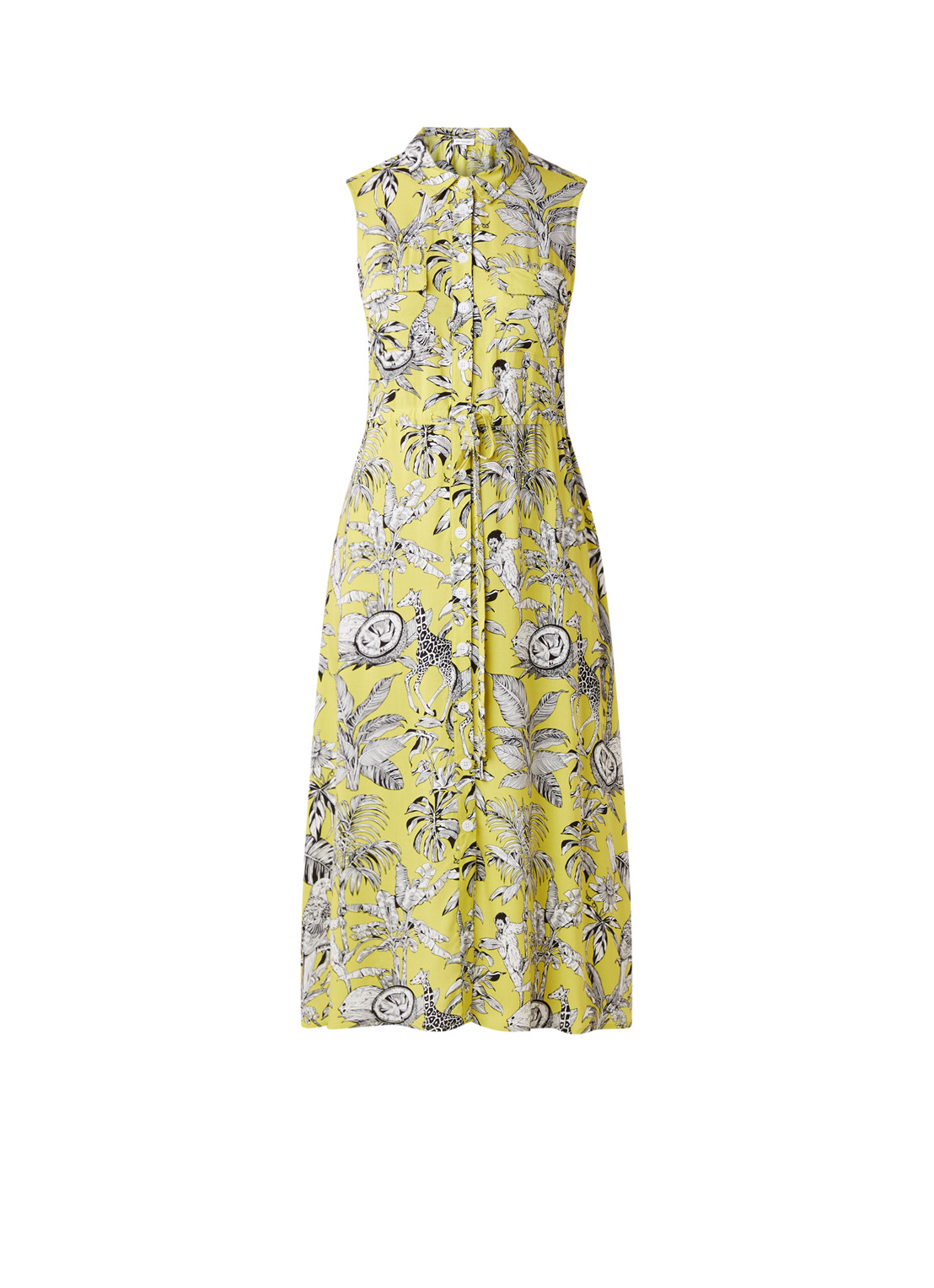 Warehouse Maxi blousejurk met dessin lime