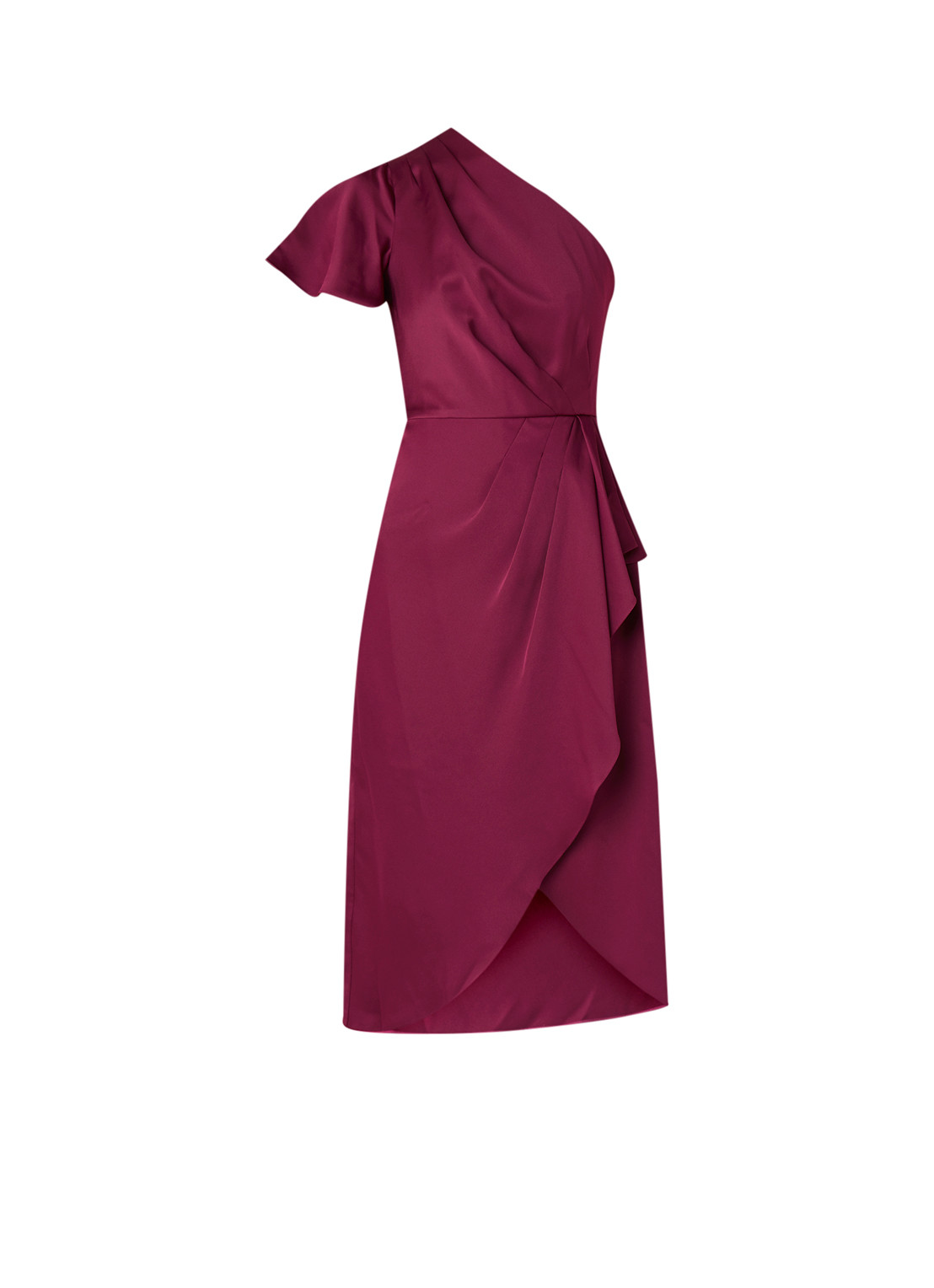 Ted Baker One shoulder midi-jurk van satijn met volant bordeauxrood