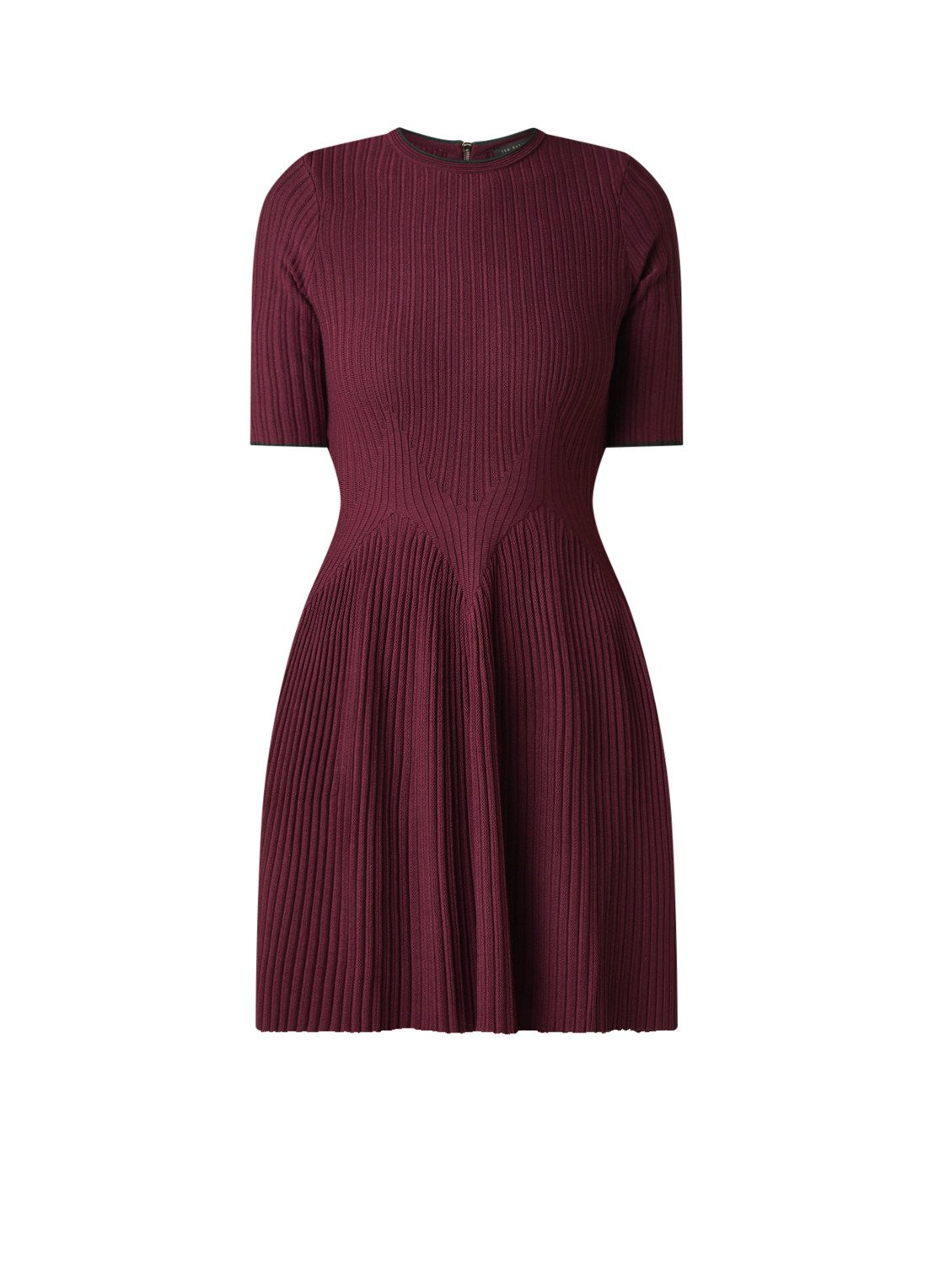 Ted Baker Renyina ribgebreide mini-jurk bordeauxrood