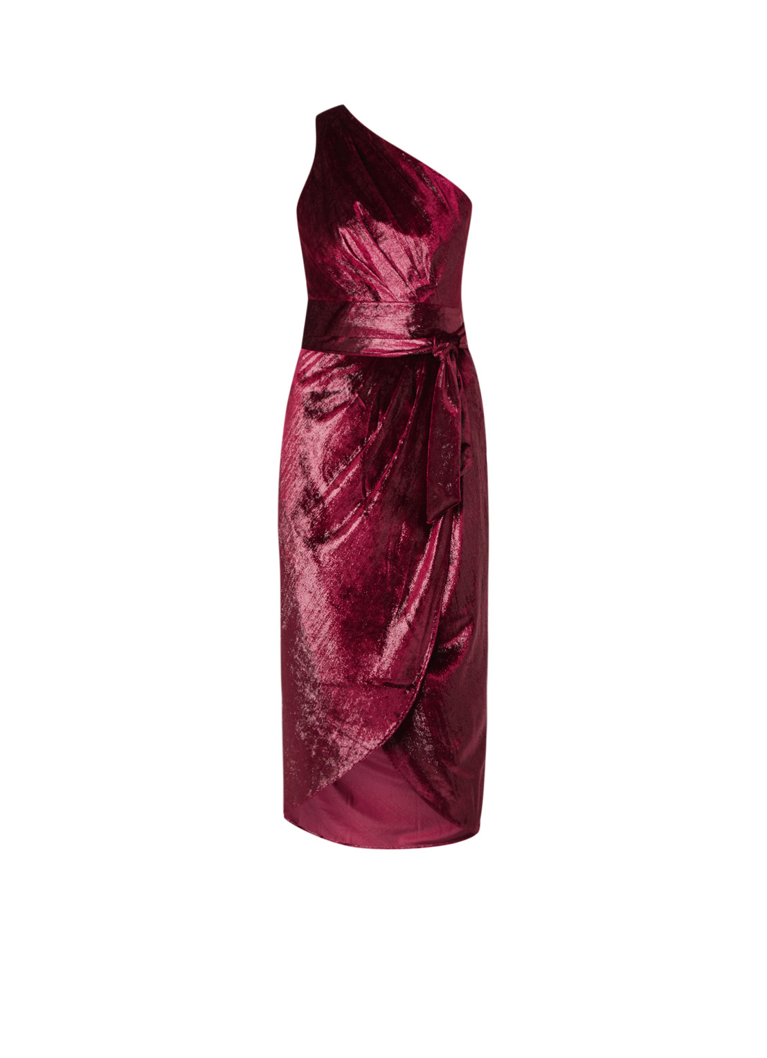 Ted Baker Abinaa one shoulder kokerjurk met strikceintuur bordeauxrood