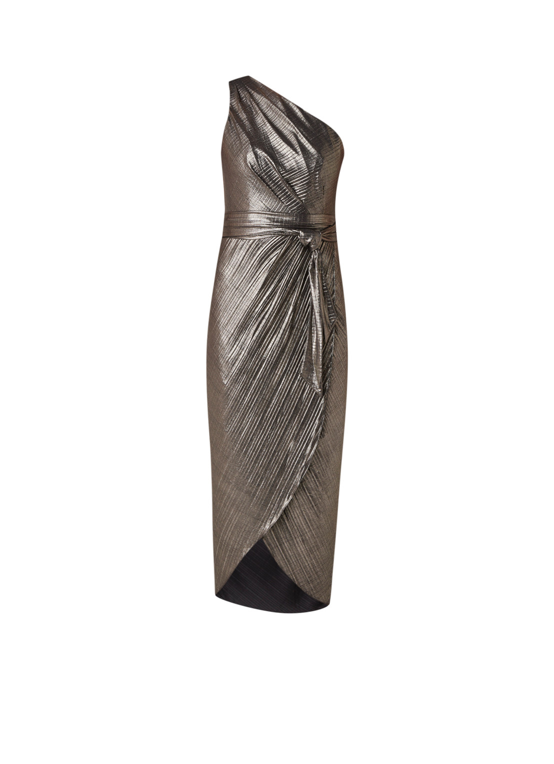 Ted Baker Gabria one shoulder maxi-jurk met metallic finish goud